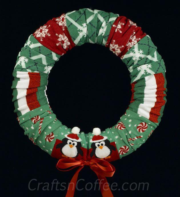 How To Make A Christmas Sock Wreath Christmas Crafts