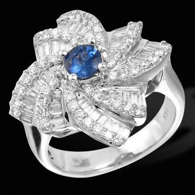 Кольцо с сапфиром и бриллиантами ED R 23697 WG sap