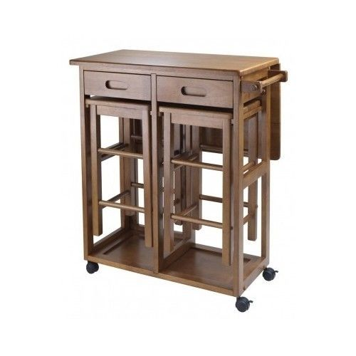 Portable Bar Table Outdoor Wood Island Kitchen Counter Stool Space Saving #Winsome