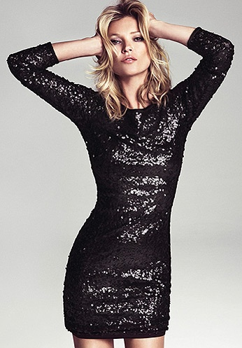 Kate Moss black sequins party dress for MANGO