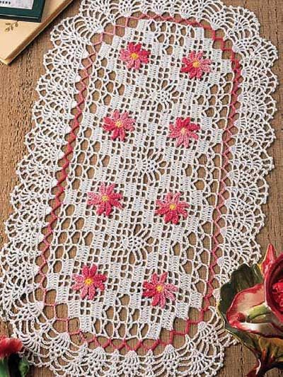 crochet oblong oval  doily free pattern