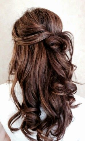 WEDDING Brown Wedding Half up Half down Hair Curls