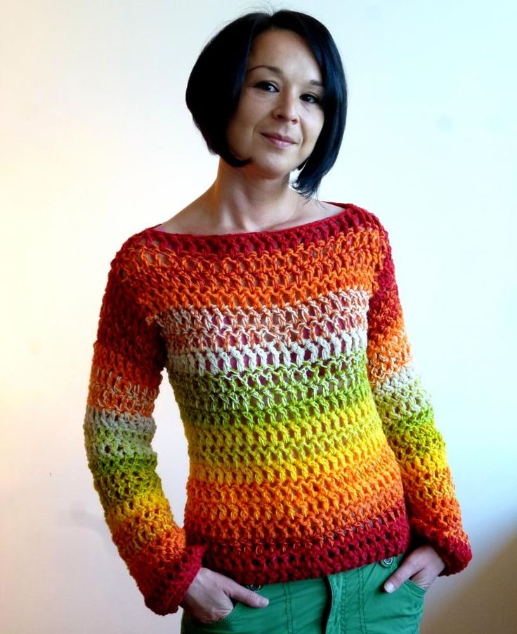 Very easy crochet sweater.  Nice colours