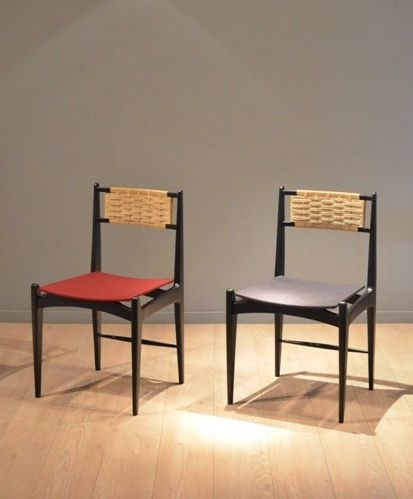 Alfred Hendrickx; Lacquered Wood And Cord Dining Chairs For Belform, 1950s.