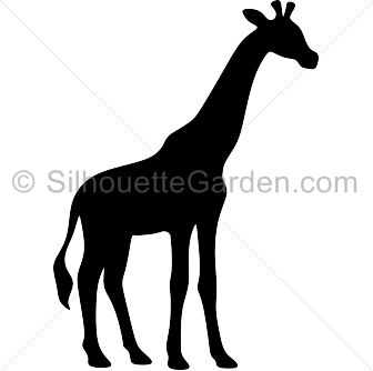 Giraffe silhouette clip art. Download free versions of the image in EPS, JPG, PDF, PNG, and SVG formats at http://silhouettegarden.com/download/giraffe-silhouette/
