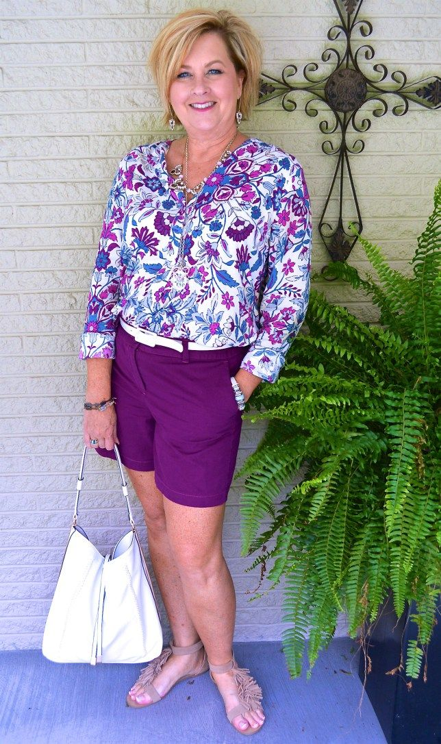 50 IS NOT OLD | BODACIOUS IS THE COLOR FOR FALL | Shorts | Print Top | Fashion over 40 for the everyday woman