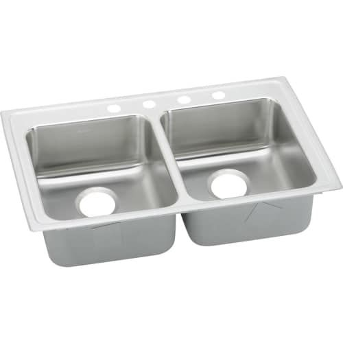 Elkay LRADQ332165 Gourmet 33 Double Basin Drop In Stainless Steel Kitchen Sink (2 faucet holes (middle right)) 2 faucet holes (middle right)