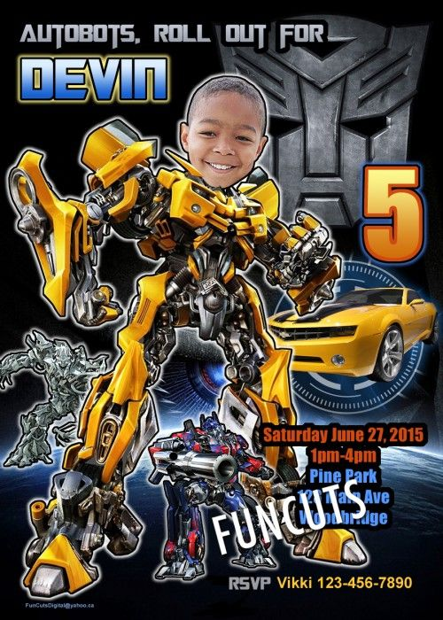 Transformers Autobots Invitation, Birthday Invitation, Kids invite