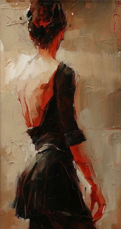 Beautiful painting of a woman from a backside view. Great texture and tones.