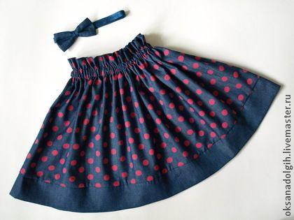 """Детская юбка """"Кокетка"""" - в горошек,синяя юбка,юбка в розовый горошек,юбка с повязкой для волос"""