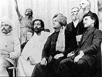 Swami Vivekananda and Tesla (far right) - -