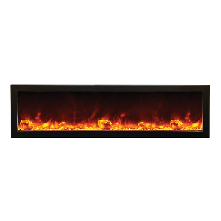 Amantii 60″ wide x 6″ deep Built-in Outdoor Electric Fireplace (BI-60-SLIM-OD)