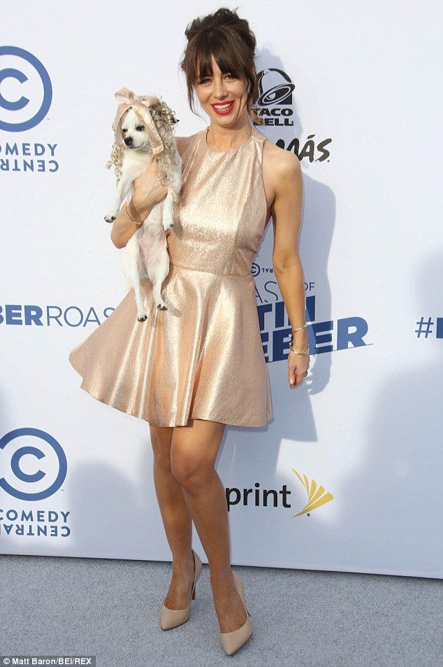 Natasha Leggero in gold metallic skater dress at Comedy Central Roast