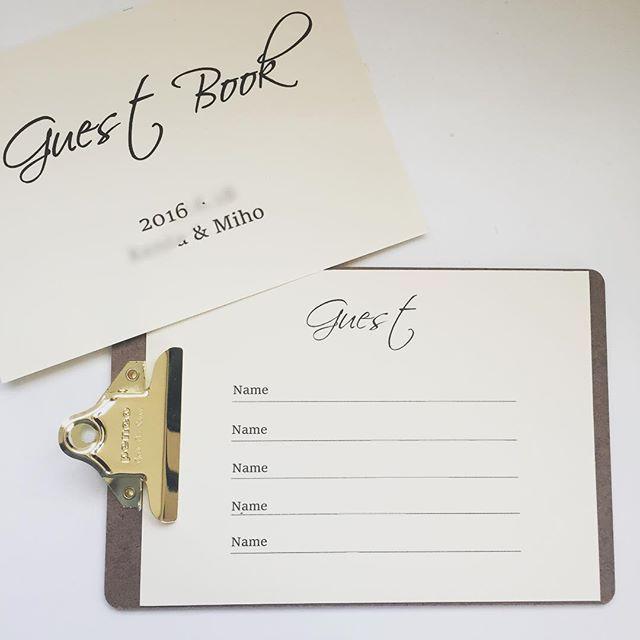 ゲストブック。  招待人数少ないし、あんまりお金かけられないからクリップボードに。  #プレ花嫁 #ゲストブック