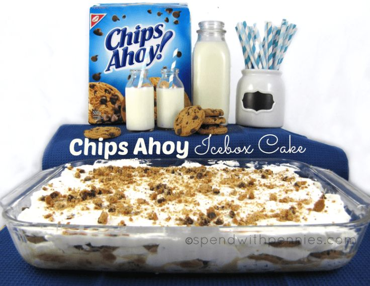 Chips Ahoy Ice box cake! If you've never made an ice box cake before, they are SO easy to make! This one is quick and delicious!