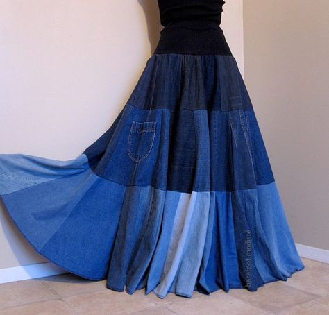 patchwork denim skirt | Blue Tides - Long Patchwork Denim Skirt, Ooak bohemian chic, Recycled ...