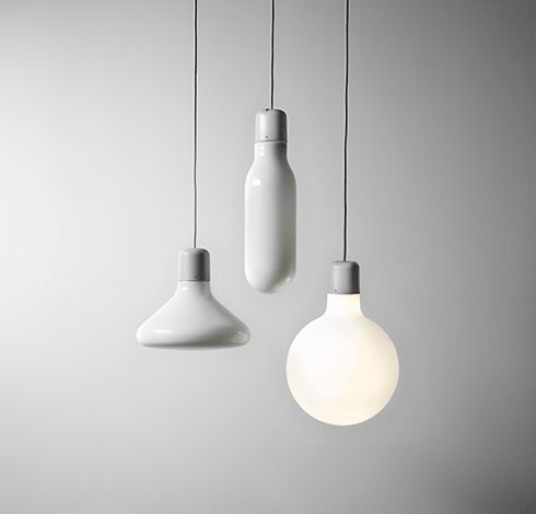 The FORM lamps by DESIGN HOUSE STOCKHOLM were designed by Form Us With Love. Like people they are the happiest in families....  Now at our shop for 189,- EUR. White opal glass, mouth blown. Grey plastic socket. Silicone cord.