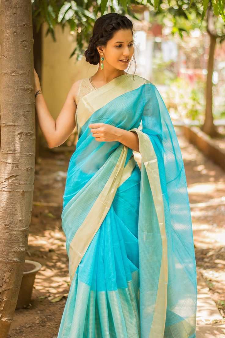 Sky blue and tissue cotton Kota saree with zari border and pallu detailing  #saree #blouse #houseofblouse #indian #bollywood #style #blue #skyblue #gold #tissue #kota #cotton #zari #border
