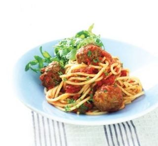 Herby Meatballs with Spaghetti and Tomato Sauce Low kj low sodium high iron