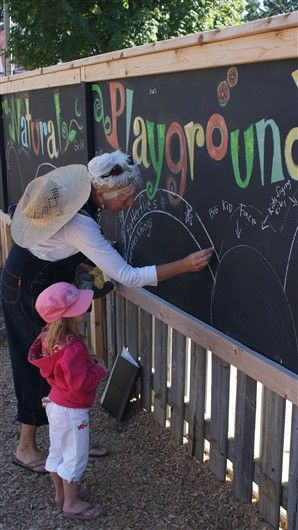 Natural Playground #Sandbox Preschool like the idea of having a black board....