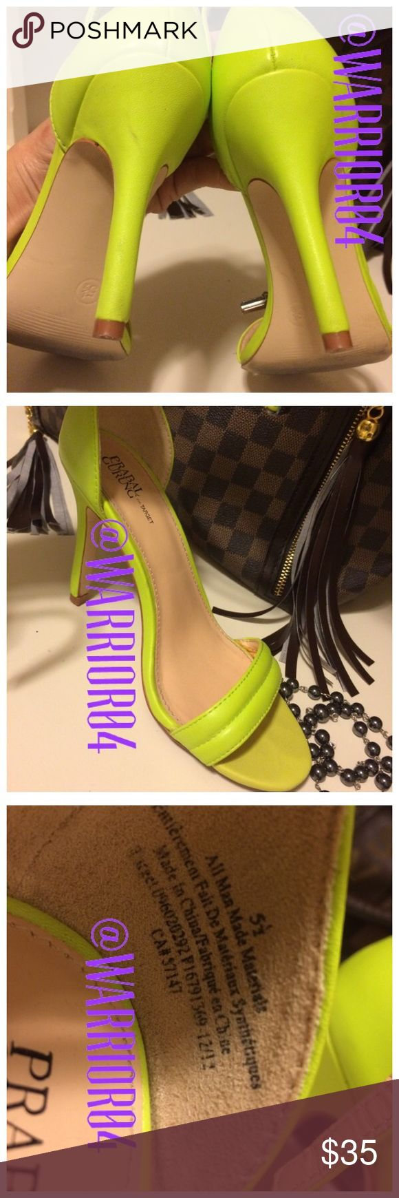 Target Fluorescent  Yellow Strappy Heels Target Fluorescent  Yellow Strappy Heels preloved even though the size inside reads 5.5 it's definitely a size 6.5 for me preloved so sleek Prabal Gurung Shoes Heels