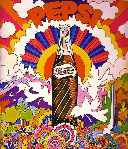 1969 Pepsi advertisement, illustrated by John Alcorn.