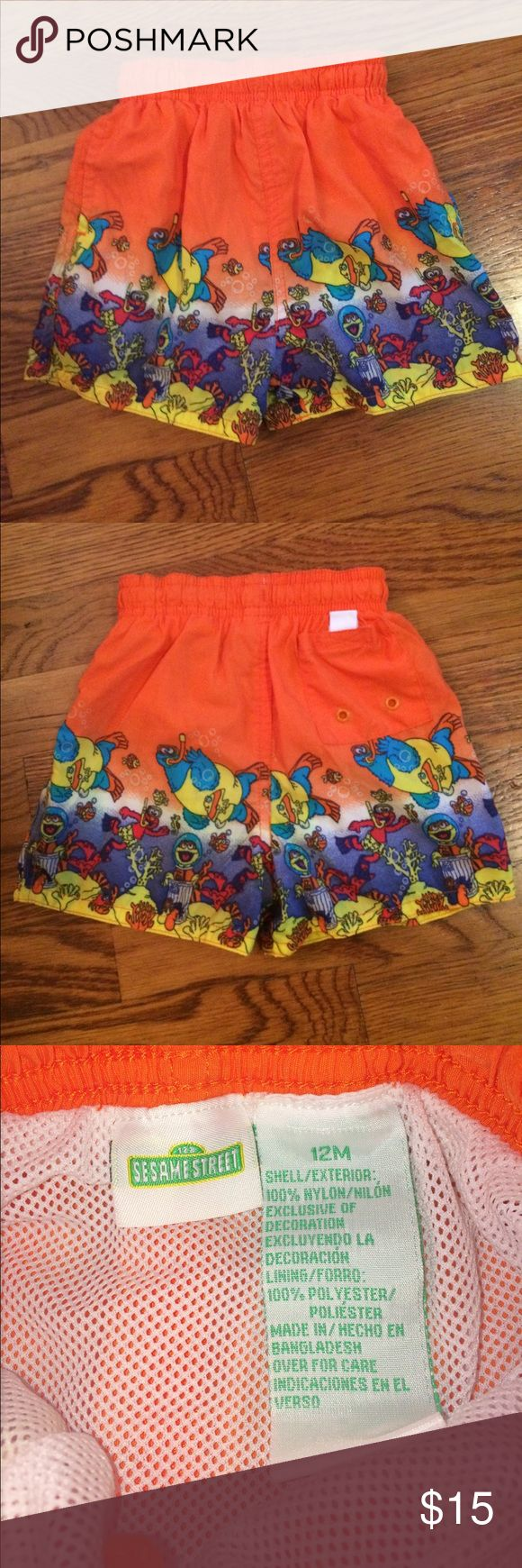 Boys Sesame Street 12mos Bathing Suit For sale is a infant boys 12 month Sesame Street bathing suit. It is in very good condition. There is one small wear mark. Thank you and have a blessed day! Sesame Street Swim Swim Trunks
