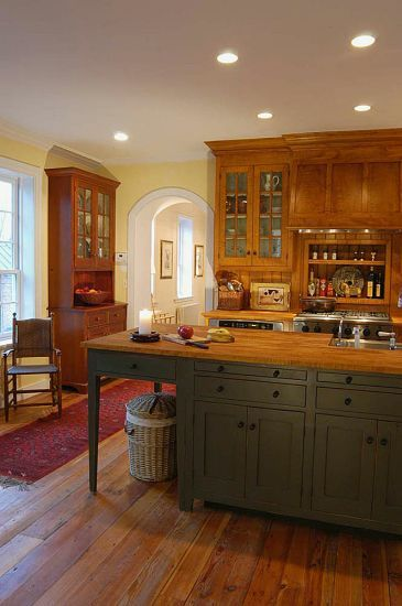 "Workshops of David T. Smith - Custom Kitchens - My kitchen has an ""open"" counter on it..this would be great to do"