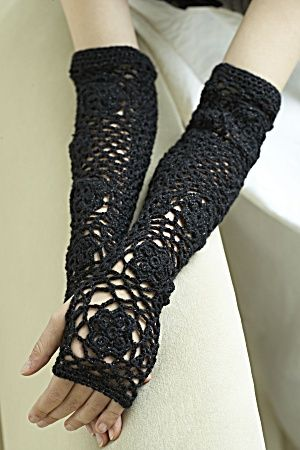 These crochet Opera Sleeves in Vanna's Glamour would work great with a beach or jazz-themed wedding.