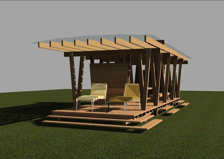 В настоящее время очертания садовых беседок имеют мало общего с устоявшимися традициями. Это не мешает современным архитекторам использовать элементарную конструкцию – несколько опор, поддерживающих легкую крышу.