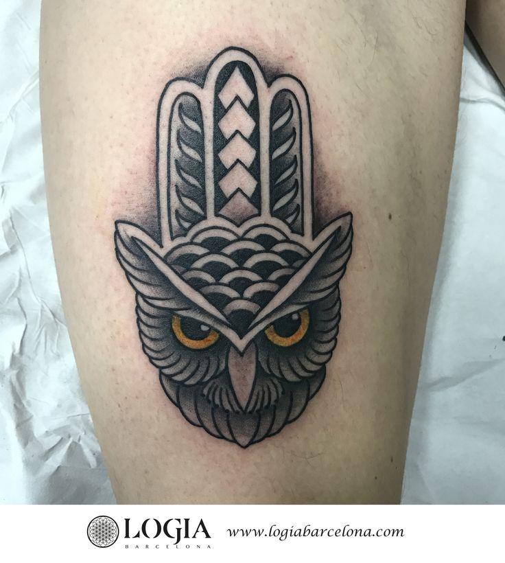 Φ Artist LAIA DESOLE Φ Tatuaje de un mandala en forma de buho realizado por Laia Desole