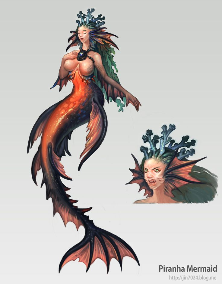 Piranha Mermaid concept art, coral reef, fin, illustration, cannibalism, monster concept