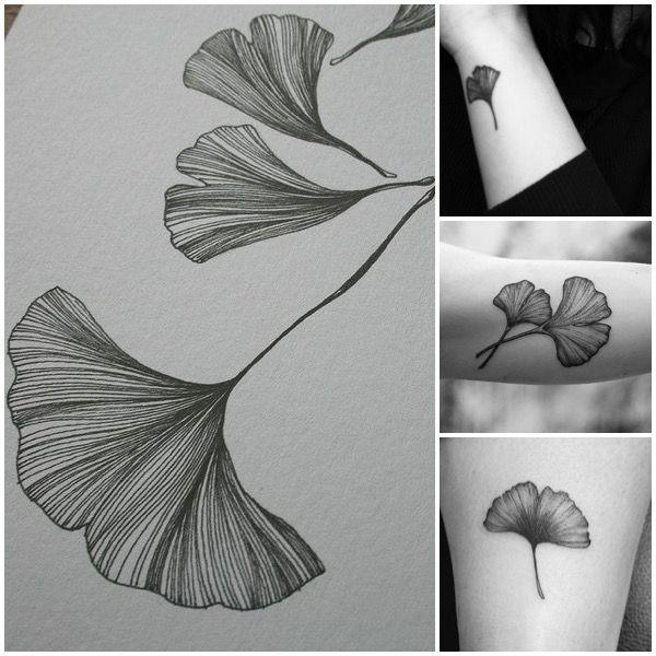 Ginkgo tree leaf tattoos. They represent longevity but ...