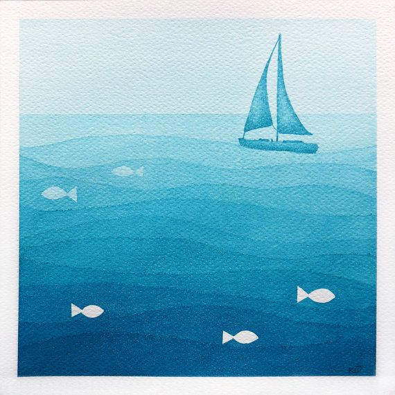 Print of original watercolor painting with sailboat. Sea illustration. Kids illustration of light blue - teal sailboat. Nursery wall art decor.    title: