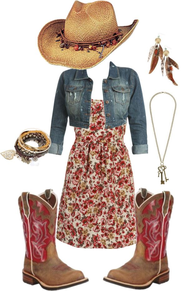 Classic Stampede stomping outfit:  Hat + Jean Jacket + Flowery print dress + Cowgirl boots + accessories including feathers, bangles and silver jewellery