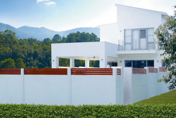 A perfect example of how Slimwall Designer Fences integrated perfectly with the existing look of the home.. www.slimwall.com.au