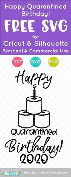 Download Happy Quarantined Birthday Free SVG File for Silhouette ...