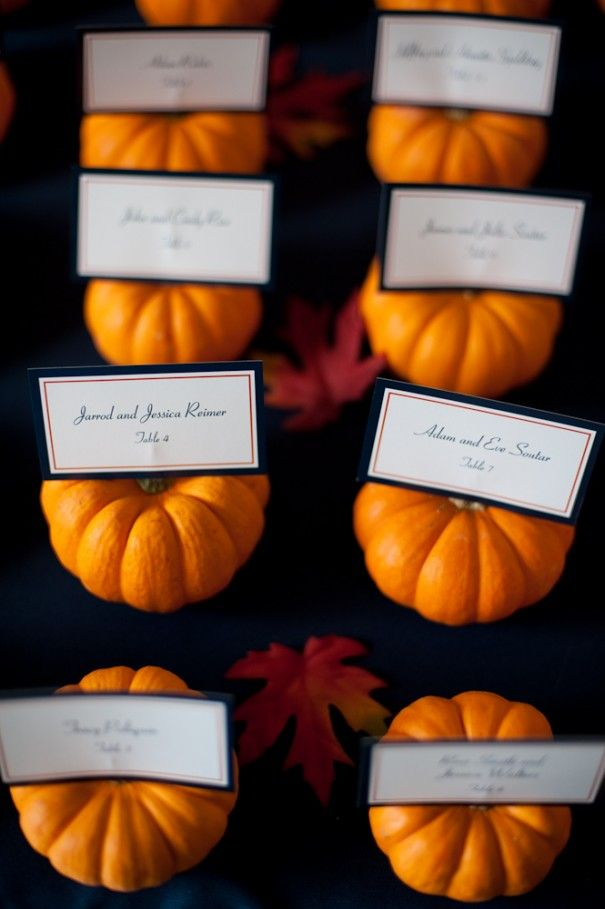 Pumpkin Place Card Holders Halloween WeddingsHalloween