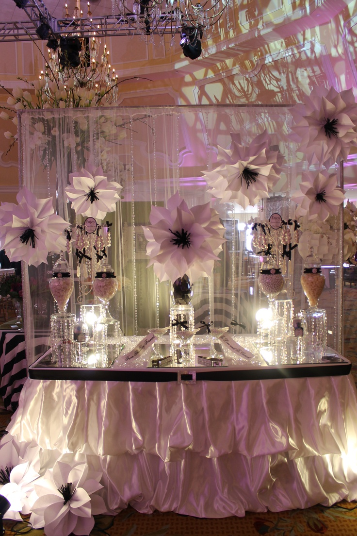 BY TASTY TABLES: white and black candy buffet, bling candy buffet, candy buffet san diego, wedding candy buffet, big paper flowers