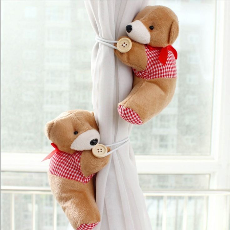1 Pair Baby Cartoon Bears Curtain Holder, Nursery Curtain Tieback Buckle Hook