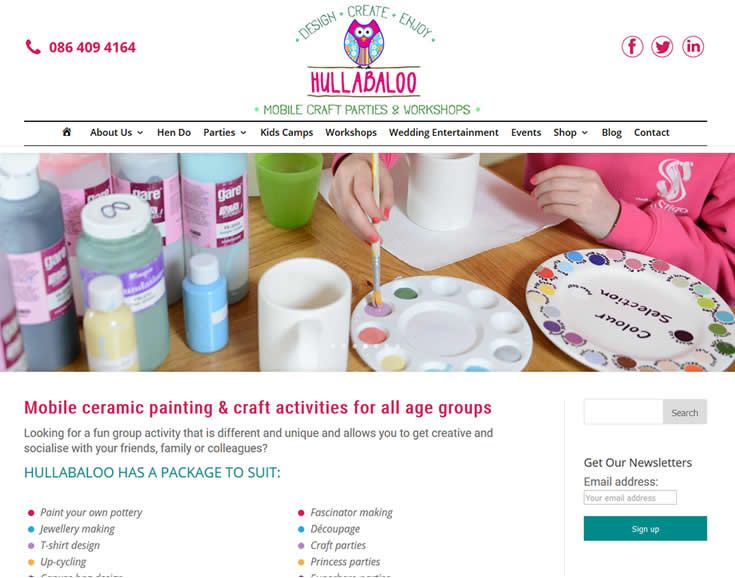 www.hullabaloo.ie Mobile Craft Parties & Workshops; website designed & built by web designers Format.ie Web Design Sligo