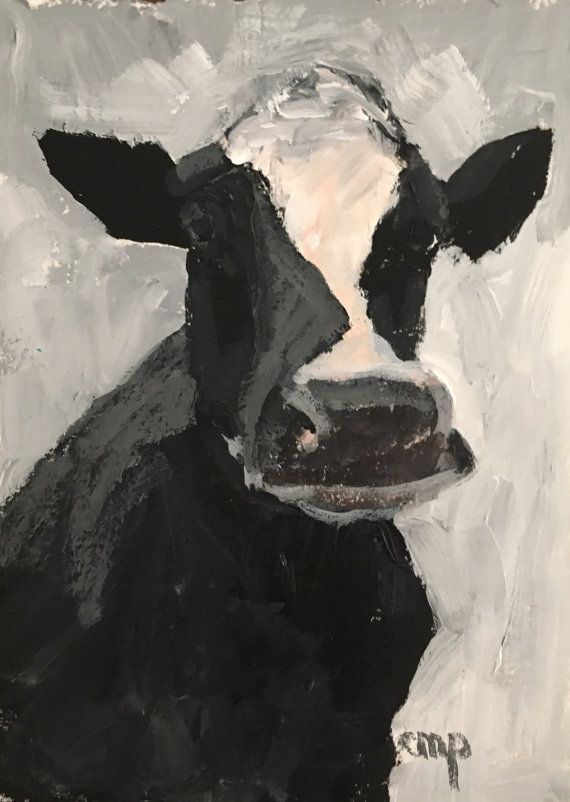 Cow painting small cow on paper original by modernimpressionist