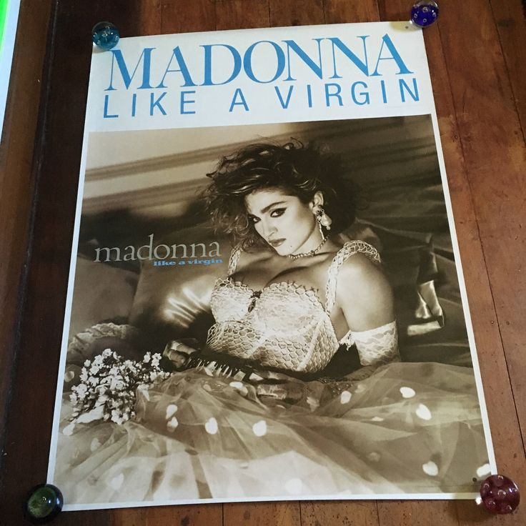 """Madonna """"Like A Virgin"""" 1983 Sire Records Original Rare Vintage Music Poster by RockPostersTreasures on Etsy"""