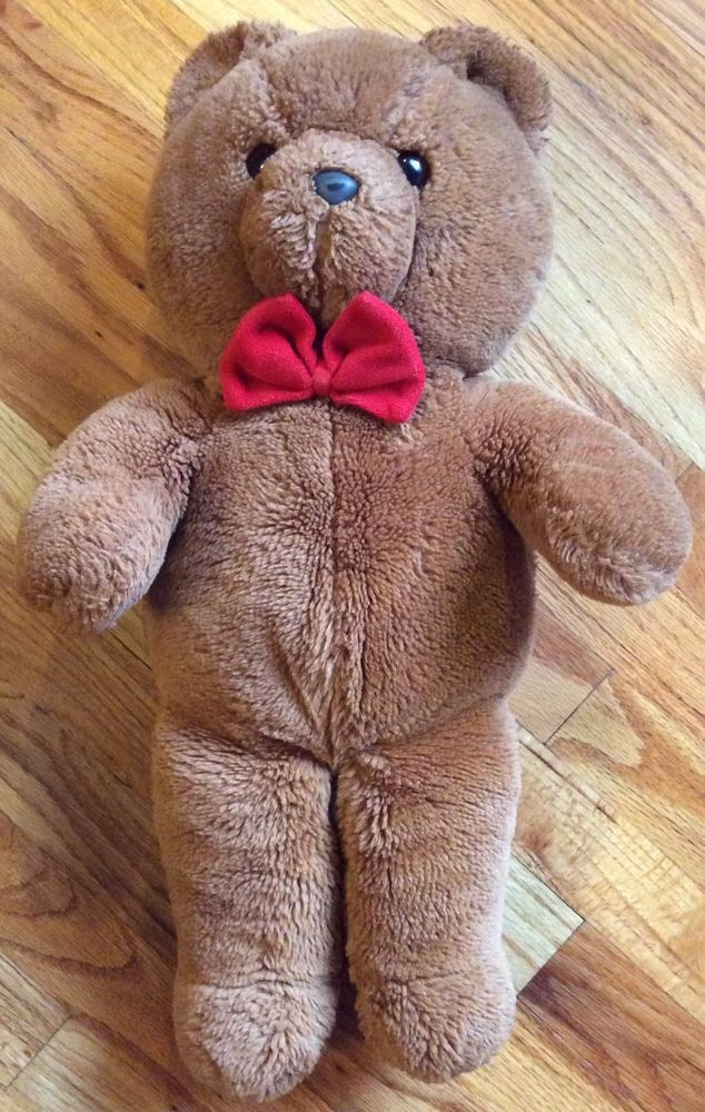 "Vintage FunFarm Dakin 1986 21"" Brown Teddy Bear Plush Stuffed Animal Red Bow Tie #Dakin"