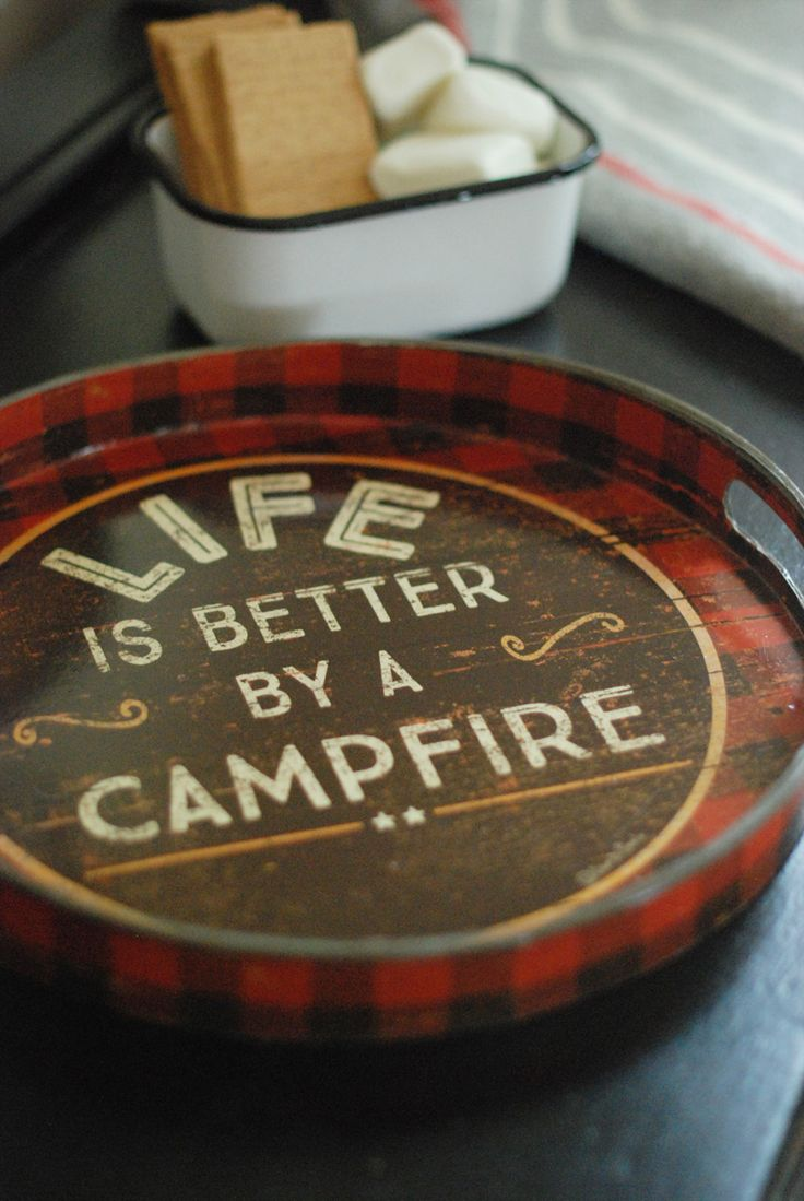 Red and Black Plaid Tray with Life is Better by the Campire