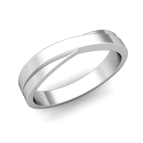 Infinity Mens Wedding Band in 14k White or Yellow Gold (4mm) from My Love Wedding Ring.