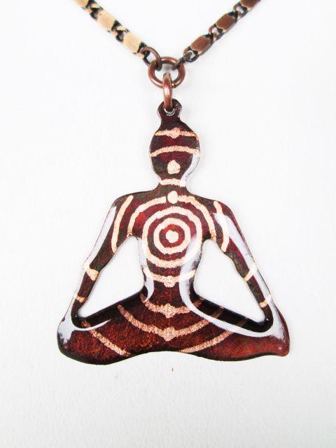 Lotus Pose Yoga Pendant, Chakra Energy Points, Representing 'Spiritual Will.' Designed by Canadian artisan Lucya Almeida