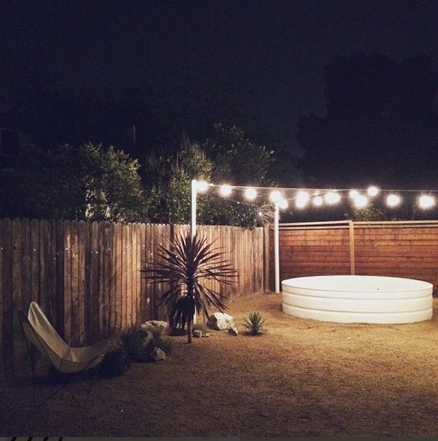 Outdoor lighting over stock tank pool | HonestlyWTF