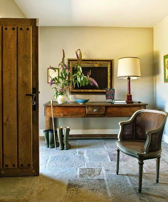 Spanish Farmhouse Mudroom Foyer W C Provencal Console Stone Floor Entrance Front Door