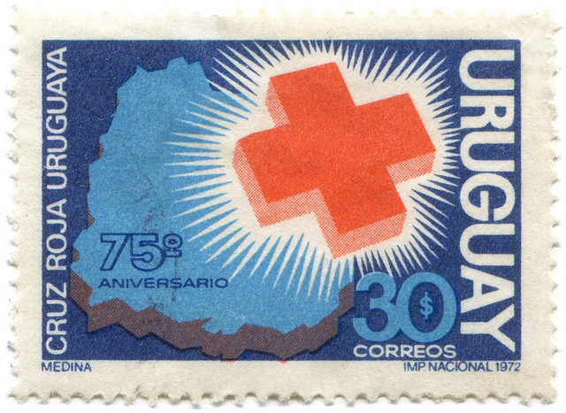 Uruguay postage stamp: Red Cross    c. 1972, in honor of 75th Anniversary of Cruz Roja Uruguayadesigned by A. Medina?